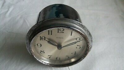"""Vintage 8 Day Wind Up Clock. 3 1/2"""" Diameter Overall. Working Condition"""