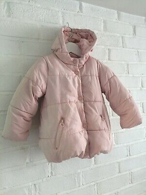 ZARA KIDS Girls Pale Pink Puffa Padded Jacket Coat 3 - 4 Years