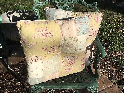 "(2) French Country/Cottage-17"" Sq-Pillows-Shabby-Patchwork-Pastels/Florals-LOVE!"