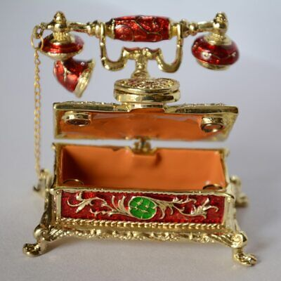 Red Antique Telephone Hinged Enamel Trinket Box w/ Lid Jewelry Storage for Ring