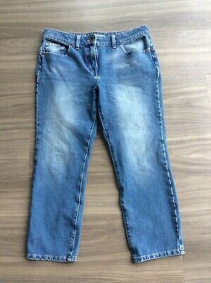 "NEXT JEANS ""FIGURE"" Blue Denim Crop Jeans With Stretch Size 12 Casual"