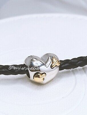Authentic Pandora Sterling & 14kt Gold Love Struck Charm W/ Pouch Valentines Day