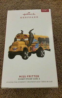 Hallmark Ornament Miss Fritter Disney Cars 3 School Bus 2019 Magic Sound NEW