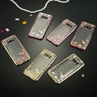 Luxury Crystal Diamond Bling Glitter Flower TPU Case Cover for Samsung iPhone 7