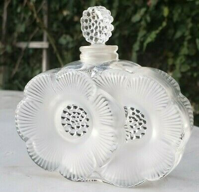 Vintage Lalique France Perfume Bottle Clear Frosted Crystal Double Flower Shape