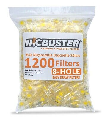 NICBUSTER 1200 Disposable Cigarette Filters Bulk Pack, EASY DRAW 8-HOLE FILTERS