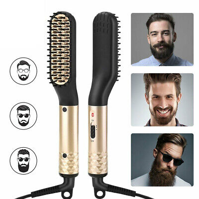 Men's Electric Beard Straightening Heated Hair Comb Brush Styler Gift I AU PLUG