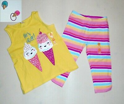 Gymboree Mix n Match 2T 3T 4T Ice Cream Cone Top and Shorts Set Summer 17 Yellow