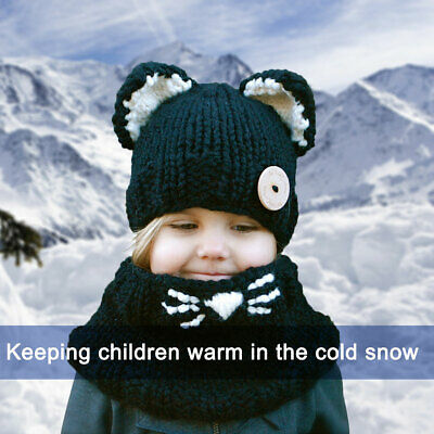 H3E# Baby Toddler Winter Beanie Warm Hat Hooded Scarf Earflap Knitted Cap