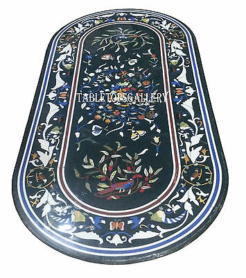 3'x2' Black Marble Dining Table Top Mosaic Inlay Pietra Dura Office Decor H930
