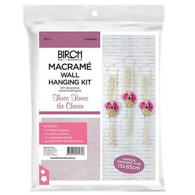 Birch MACRAME Wall Hanging Kit THREE TIMES THE CHARM 13x85cm MWHS09 Knotting