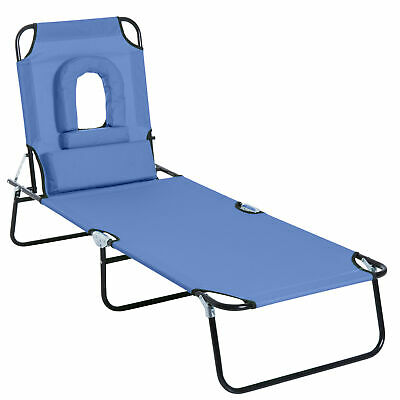 Outsunny Sun Lounger Reclining Folding Sunbed Chair Bed Head Rest Foldable Blue