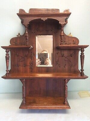 """Walnut Hanging Shelf with Mirror and Turned Posts 29"""" Tall"""