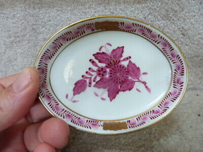 """ANTIQUE Herend Hungary Handpainted Porcelain Pin Tray Dish Magenta & Gold 3.88"""""""