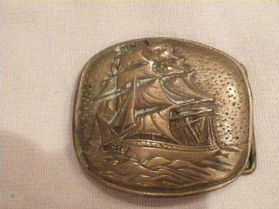 "VINTAGE Solid Brass Belt Buckle Nautical Tall Ship in Storm ""W.A""  3""x2.75"""