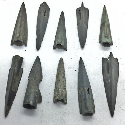 10 Authentic Ancient Roman Or Greek Arrow Heads Spear Point Artifact Europe Old