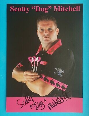 """Lakeside Darts, Scott Mitchell 'Scotty Dog' hand signed in person 8"""" x 6"""" Promo."""