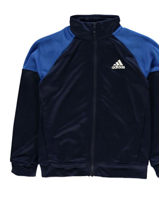 ADIDAS Linear Logo Poly Tracksuit Jacket Junior Navy Size UK 7-8 Years *REF167