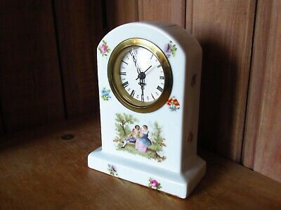 LOVELY ANTIQUE  PORCELAIN MANTEL CLOCK GERMANY needs attention