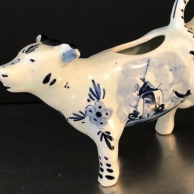 Cow Creamer Delft Blue Holland W177 VTG Blue White Retro Kitchen Decor Cottage