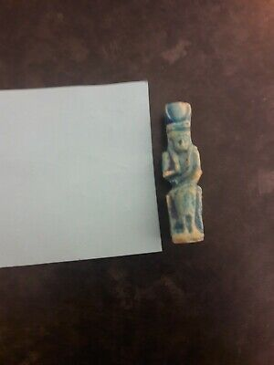 Stunning Ancient Egyptian Glazed Faience Statuette Isis Nursing Baby Horus 2/3