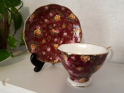 ROYAL ALBERT OLD COUNTRY ROSES 2002 BONE CHINA RUBY LACE TEA CUP & SAUCER Chintz