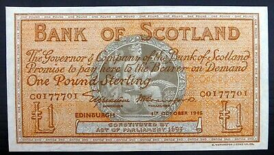 SCOTLAND 1945 £1 Banknote with Very Light Centre Fold CS55
