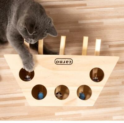 3/5 Holes Whack Mole Mouse Cat Exercise Interactive Teaser Toy Wood Puzzle Box