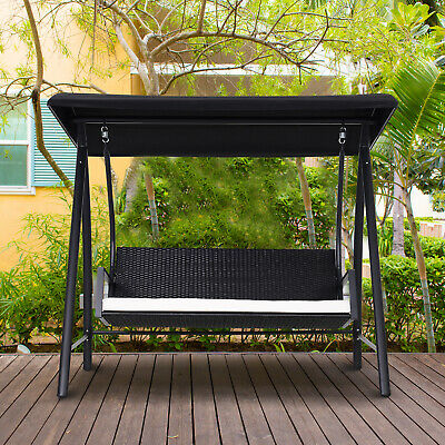 Outsunny Outdoor Garden Rattan Swing Chair Swinging Hammock 3 Seater Bench