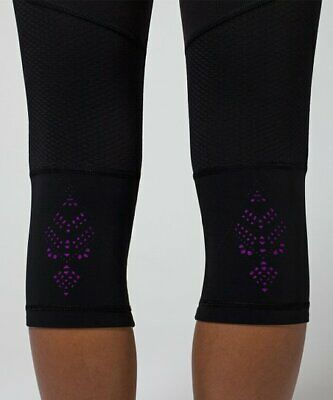 IVIVVA Lululemon Girls Black Capri Leggings w/ Purple Laser Cut Design Size 8