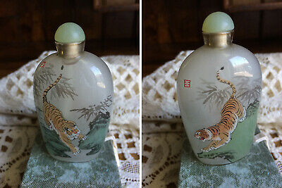 """2 Chinese Tigers Inside Reverse Hand Painted 3 """" Glass Snuff Bottles signed"""