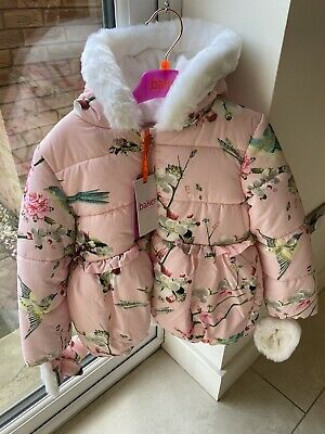Ted Baker Girls Pink Floral Winter Coat Age 5-6 New RRP £56