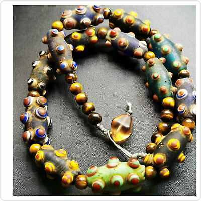 Wonderful Unique Roman mosaic Old Glass Beads strand Necklace   # 104