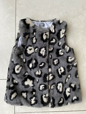 Next Girls Faux Fur Leopard Print Gillet Age 4-5