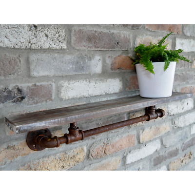 Industrial Pipe Shelf Wall Mounted Display Shelving Floating Wooden Storage New