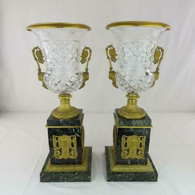 """Pair Baccarat-Style Cut Glass and Marble Urns w/ Bronze Mounts French Empire 19"""""""