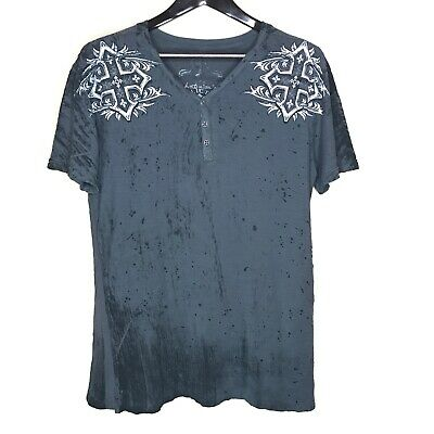 Affliction Mens Live Fast Large V Neck Burn Out T Shirt Distressed Gray Graphic