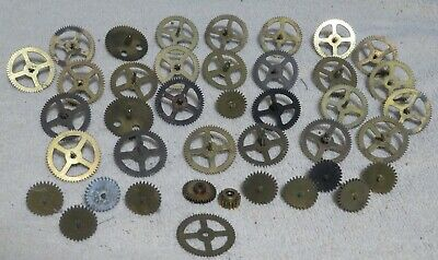 Lot of 35+ Antique Brass/Metal Clock Gears and Posts~Steampunk Altered Lamp Art