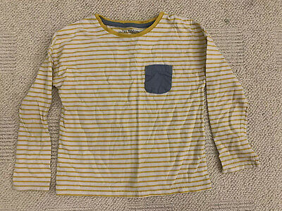 Mini Boden Girls/boys Yellow Stripped Top age 5-6 Years With Blue Pocket
