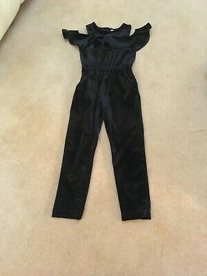 Girls Playsuit Age 5-6 Party Christmas Black Velour