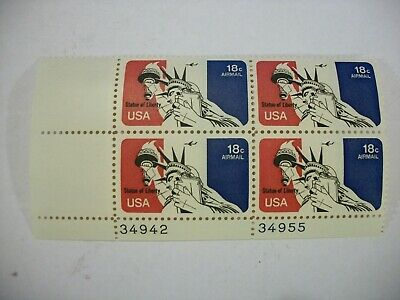 Scott # C87 - 18¢ Statue Of Liberty Plate Block Of 4 Stamps - Og - Vf - Mnh 1974