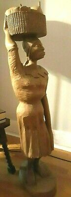 Unique 4 foot tall Hand Carved Wood Statue, Woman w/basket
