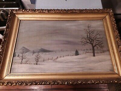 Oil on Board Winter Painting Framed and signed, vintage antique