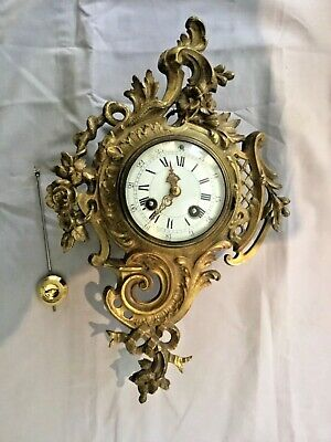 Antique French Bronze Cartel 8 Day Wall Clock C1870