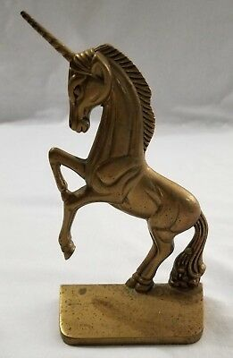 Pre-Owned Vintage Solid Brass Mythical Horse Fantasy Unicorn Standing Statue
