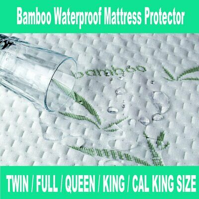 Mattress Protector Waterproof Bamboo Soft Hypoallergenic Encasement Pad Cover