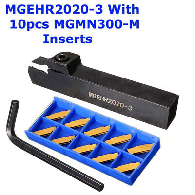 MGEHR2020-3 Holder Cutting Groove Cutter Lathe Tools + 10x MGMN300 Blades Insert
