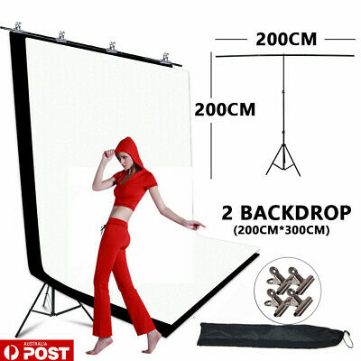 2X3M Photo Black White Screen Background+T Type Backdrop Support Stand KIT-NEWLY