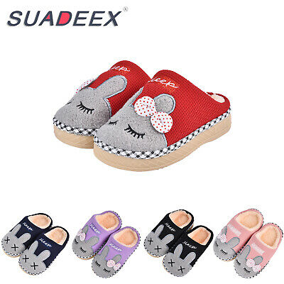 Girls Boys Cute Home Slipper Bunny Warm Winter Kids Fur Lined Indoor House Shoes