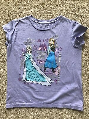 Girls Lilac Disney Frozen Glitter Anna and Elsa T Shirt Age 10-12 Years. Holiday